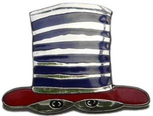 "Pin ""Hat"" dark-blue-red"
