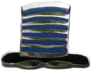 "Pin ""Hat"" light-blue-black"