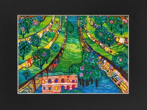 Mini Art Print with passe-partout GREEN TOWN